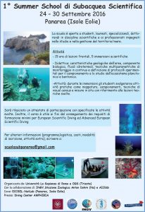 1° Summer School di Subacquea Scientifica 24-30 settembre 2016